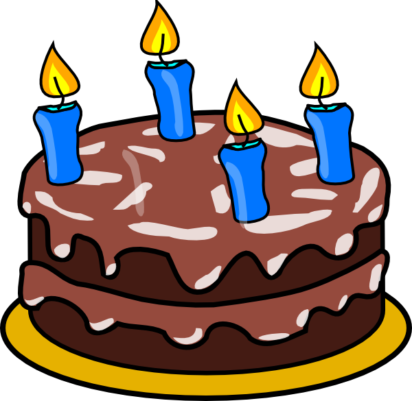 Clipart birthday cake animated. Four candles clip art