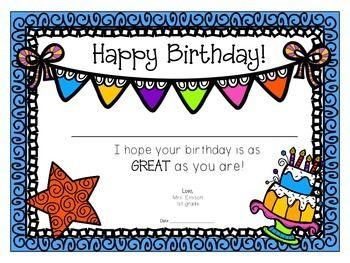 Birthday cards for teachers clipart