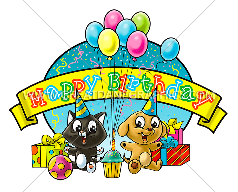 Cat birthday clipart image free Birthday Cat & Dog | Production Ready Artwork for T-Shirt Printing image free