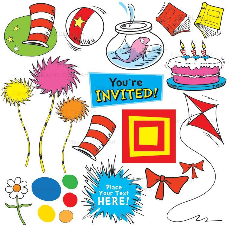 Dr Suess Inspired Clip Art Cute Digital Clipart Kids Birthday ... clipart royalty free