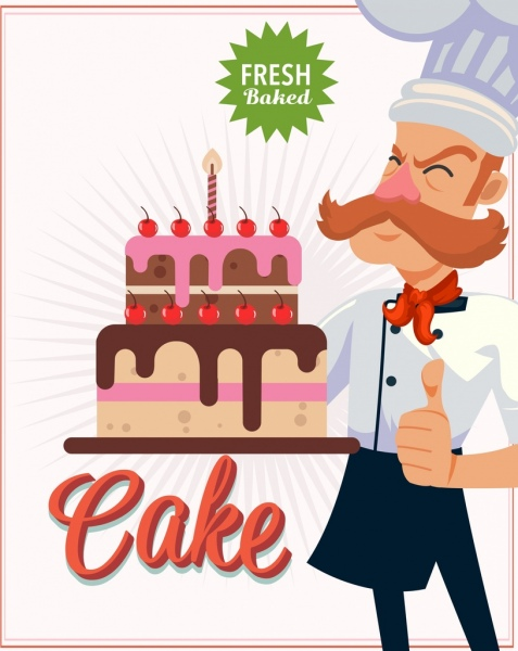Birthday clipart for a cook svg free download Pastry banner cook birthday cake icon cartoon character Free vector ... svg free download