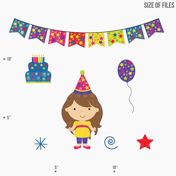 Birthday clipart for children vector royalty free birthday clipart clip art kids children - Birthday Kids Digital Clip ... vector royalty free