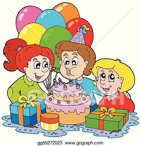 Birthday clipart for children graphic black and white library Clip Art Vector - Three children at birthday party. Stock EPS ... graphic black and white library