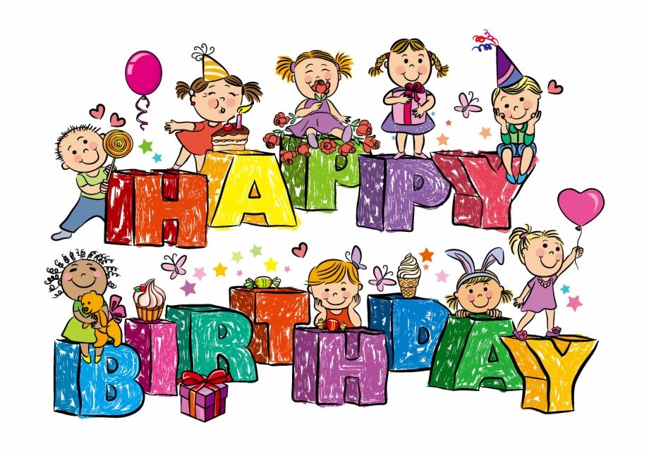 Birthday clipart for children jpg free stock Cartoon Birthday Vector Material Wordart - Happy Birthday Cards ... jpg free stock