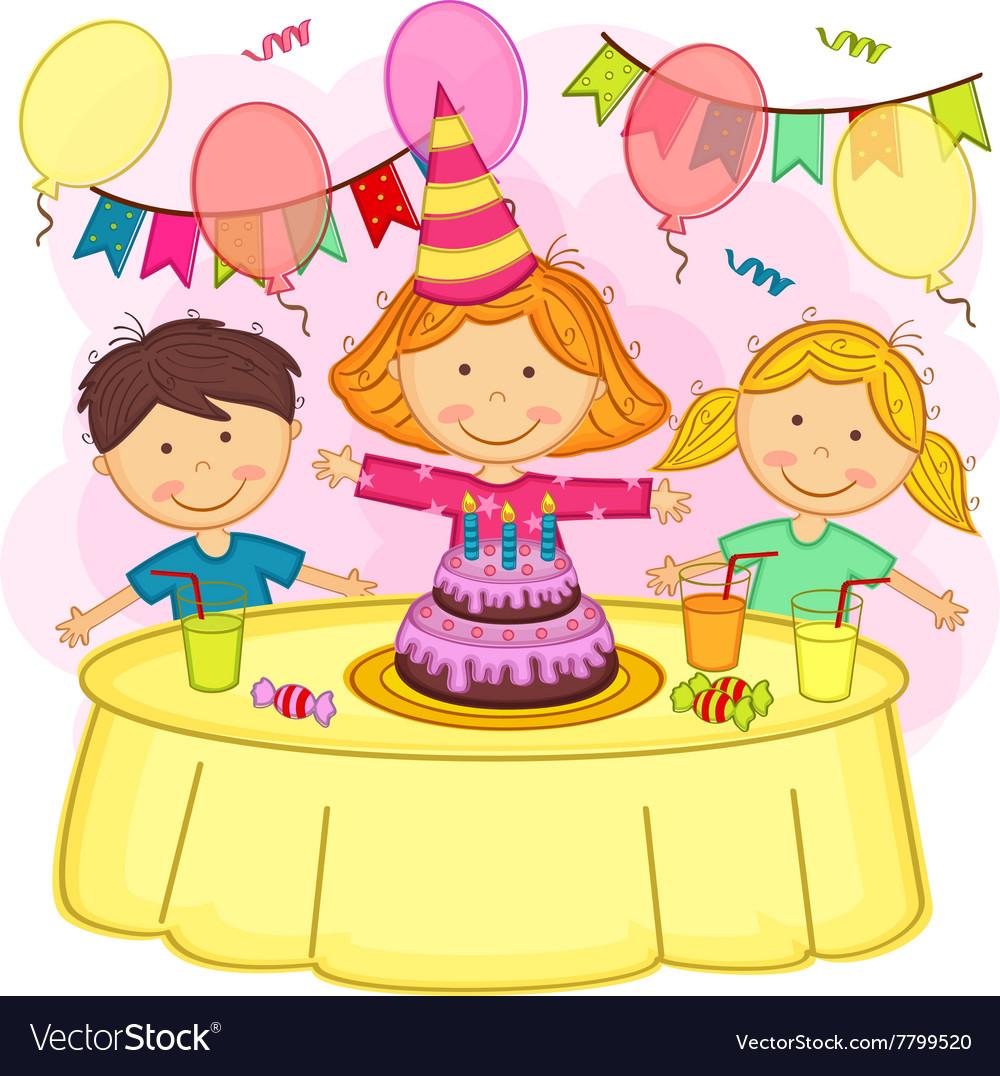 Birthday clipart for children vector Children celebrating birthday vector