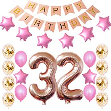 Birthday concern and care clipart image library download Amazon.com: 32nd Birthday Decorations Party Supplies Happy 32nd ... image library download