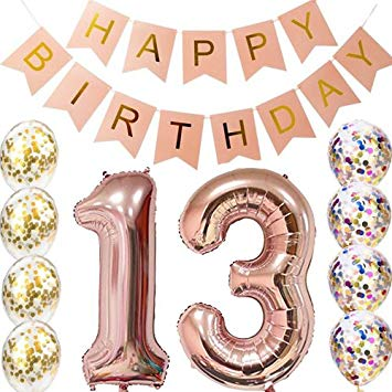 Birthday concern and care clipart svg freeuse library 13th Birthday Decorations Party supplies-13th Birthday Balloons Rose  Gold,13th Birthday Banner,Table... svg freeuse library
