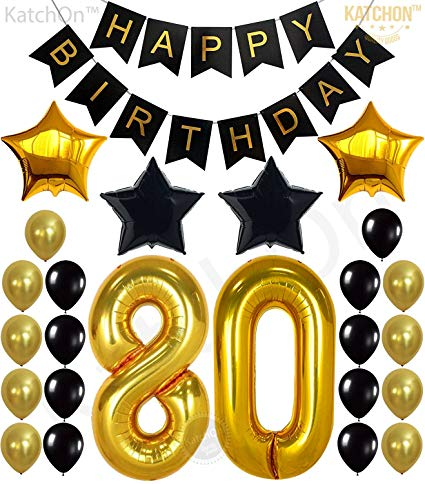 Birthday concern and care clipart jpg royalty free download KATCHON 80th Birthday Decorations Party Supplies - Large Number 80 | Happy  Birthday Banner | Black and Gold Balloons | 80th Birthday Party Decorations  ... jpg royalty free download