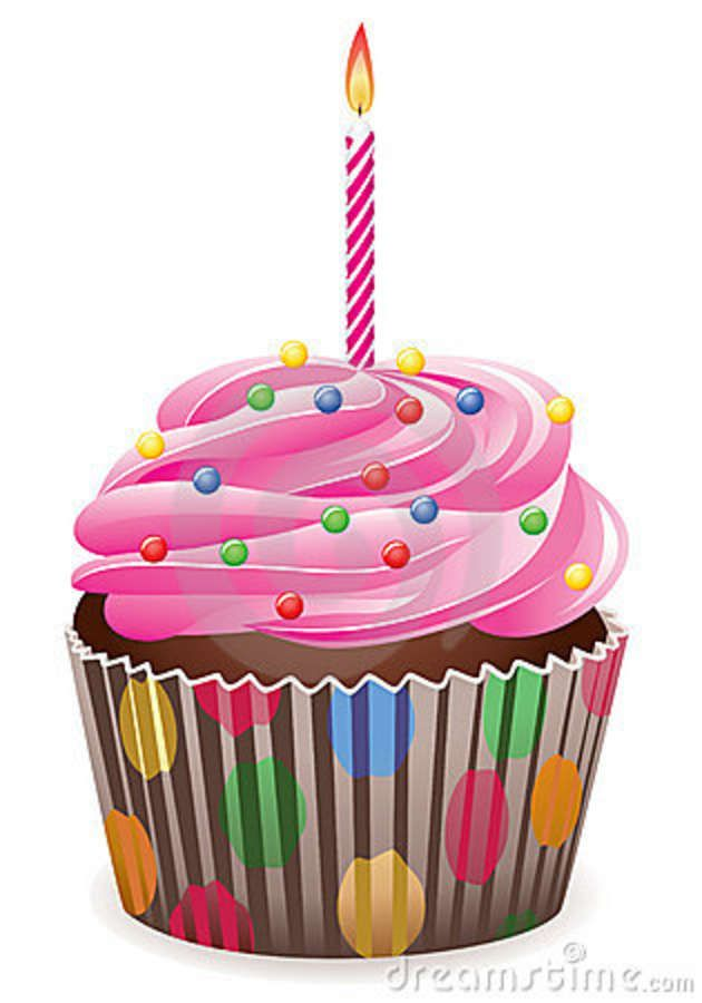Birthday Cupcake Clipart | Cupcake With Burning Candle Royalty Free ... vector royalty free