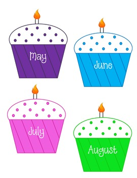 Birthday cupcakes clipart with months svg royalty free download Classroom Birthday Chart Monthly Cupcakes svg royalty free download