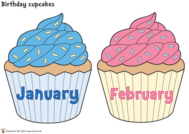 Birthday cupcakes clipart with months svg freeuse stock Birthday Cupcakes Classroom Display   לתלות בכיתה   Classroom ... svg freeuse stock