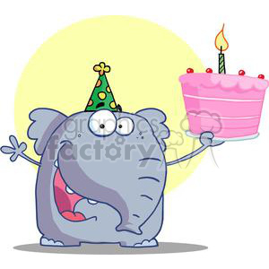 Birthday elephant images clipart vector library library Blue elephant wearing a green and yellow party hat holding a pink happy  birthday cake with one candle clipart. Royalty-free clipart # 377918 vector library library