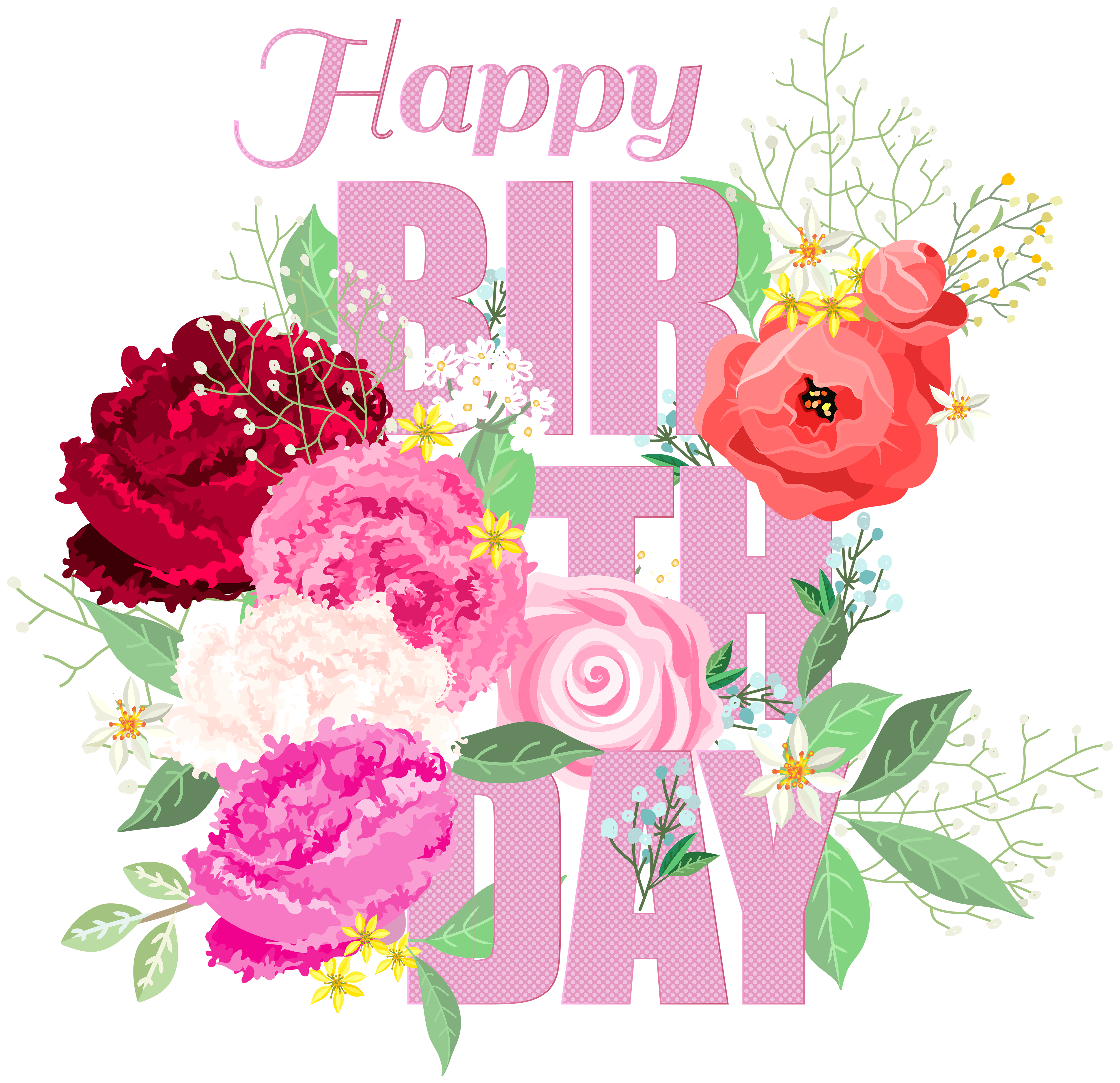 Happy birthday flower clipart picture free download Happy Birthday with Flowers PNG Clip Art | Gallery Yopriceville ... picture free download