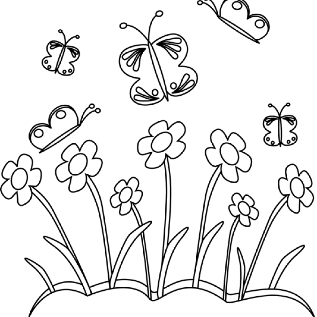 Butterfly on flower clipart black and white banner download Flower Clipart Black And White birthday clipart hatenylo.com banner download