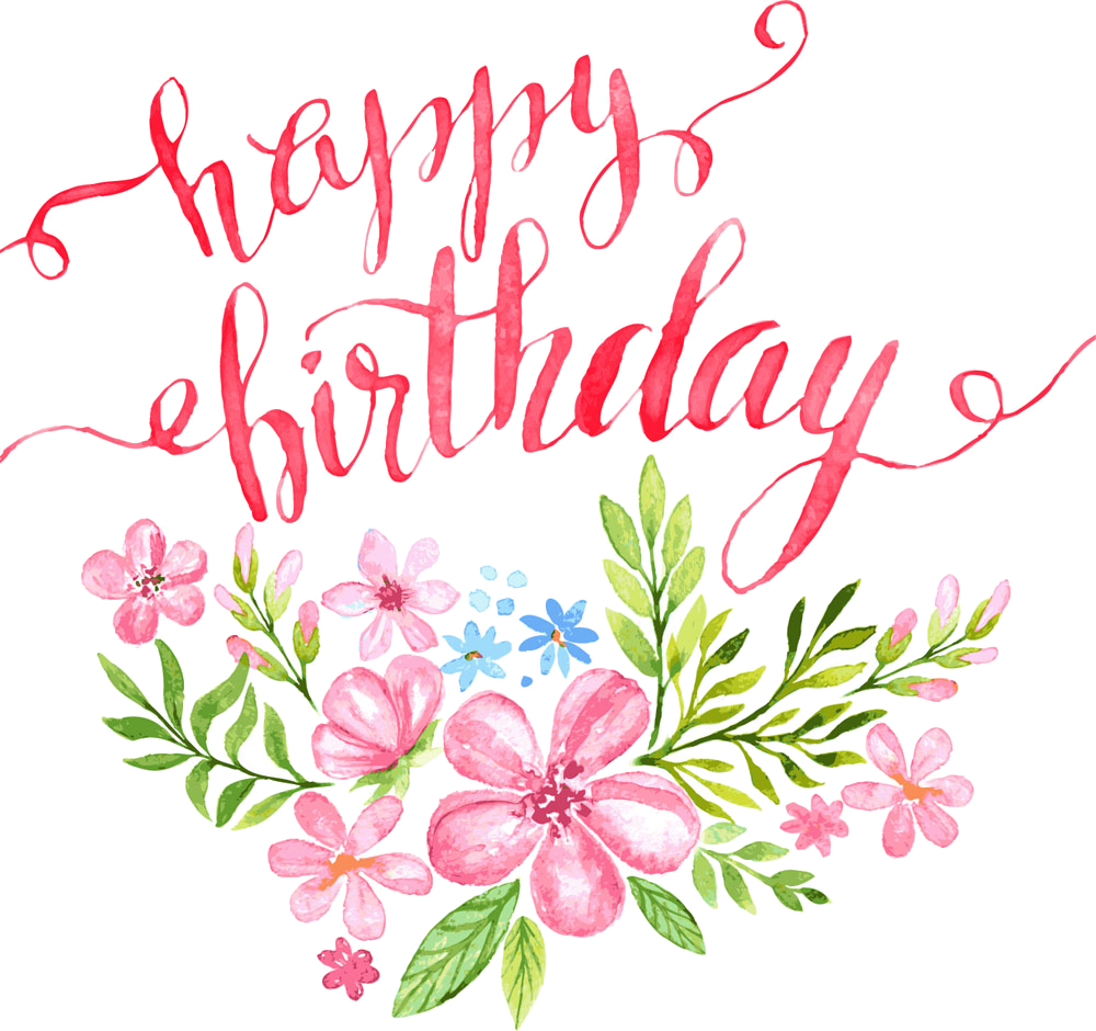 Happy birthday flower clipart clipart royalty free stock Birthday Calligraphy Greeting card Illustration - Flowers Happy ... clipart royalty free stock