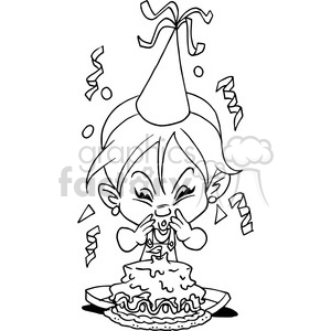Birthday girl clipart black and white image free download girl birthday party cartoon in black and white clipart. Royalty-free  clipart # 389834 image free download