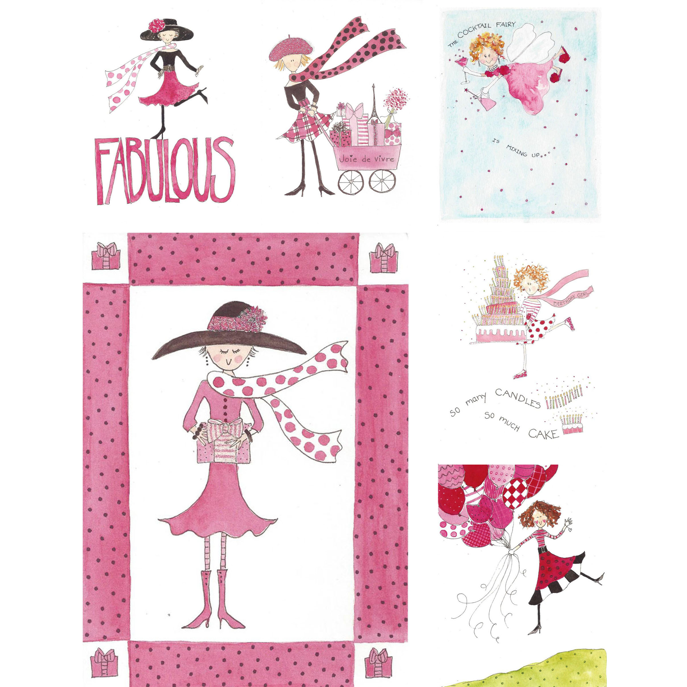 Birthday girl text clipart black and white Fabulous Birthday Card Set - Set of 6 black and white