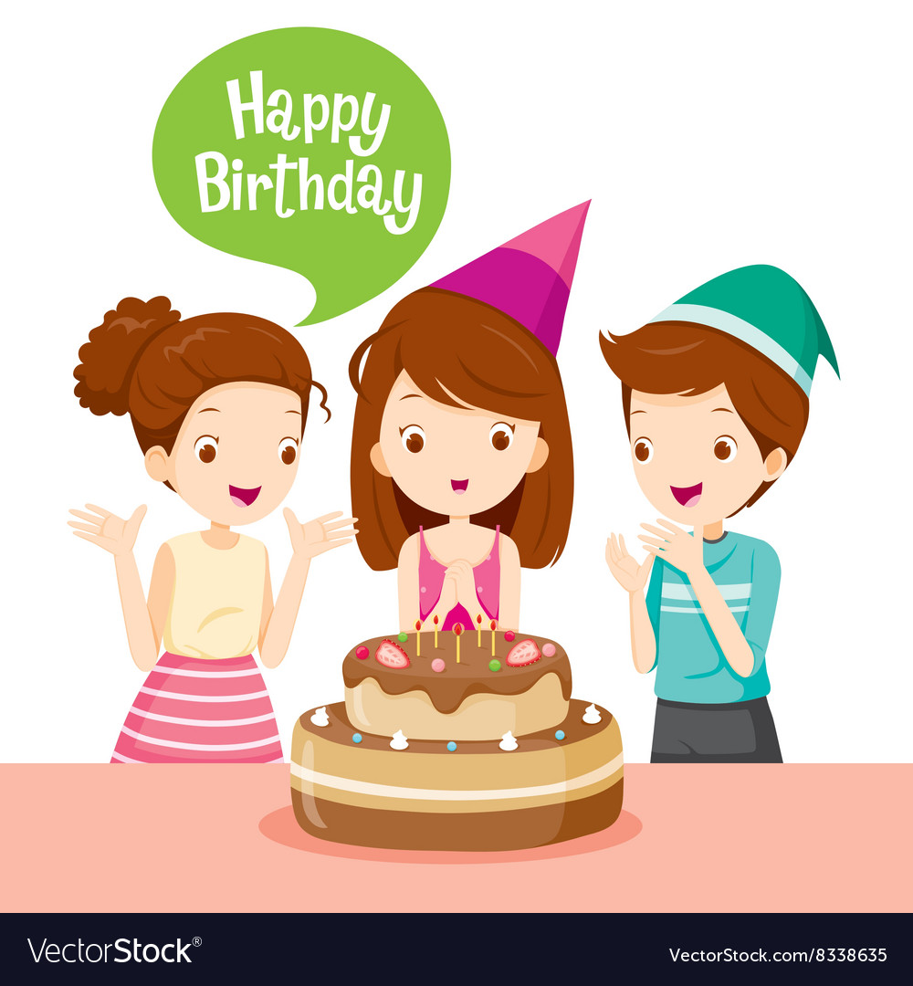 Birthday girl with friends clipart clip freeuse library Girl And Friend With Cake On Birthday Party clip freeuse library