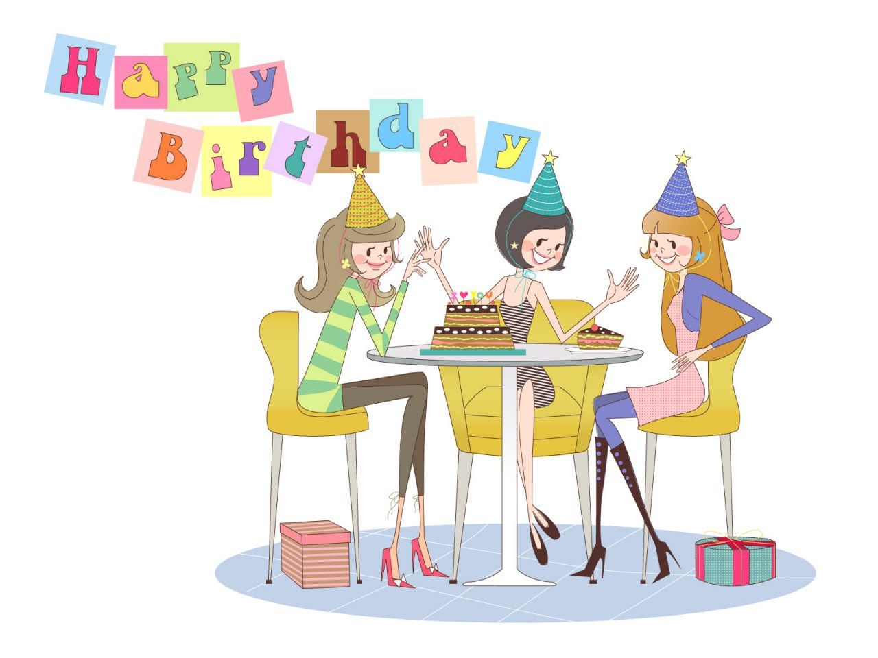 Birthday girl with friends clipart vector library library Happy Birthday #girlfriends | Birthday greetings | Happy birthday ... vector library library