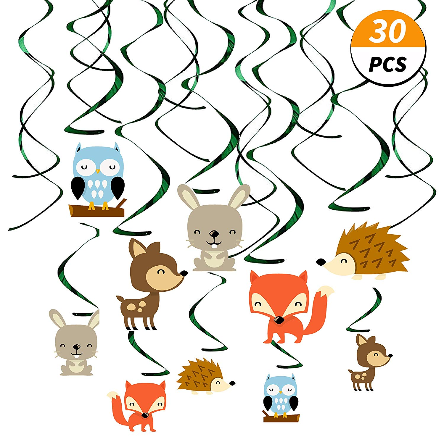 Birthday girl with friends clipart jpg library library Kristin Paradise 30Ct Woodland Animals Hanging Swirl Decorations, Forest  Friends Birthday Party Supplies for Boy/Girl/Kids, Baby Shower Woodland ... jpg library library