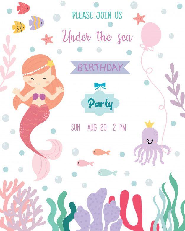 Birthday invitation card clipart jpg transparent library Cute mermaid theme birthday party invitation card. Premium Vector ... jpg transparent library