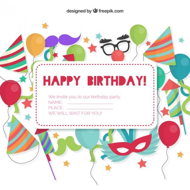 Birthday invitation card clipart jpg freeuse stock Birthday invitation card Vector | Free Download jpg freeuse stock