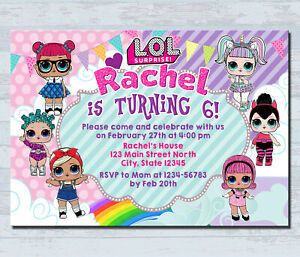 Birthday invitation card clipart clip library Details about Personalized LOL Doll Invitations Kids Birthday Invitation  Party invites card clip library