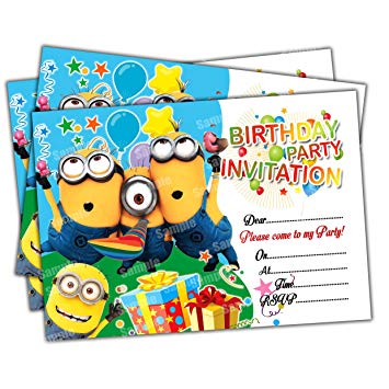Birthday invitation card clipart picture black and white library Invitations 20 x Minions Kids Birthday Party Invites Cards Quality Girls  Boys picture black and white library