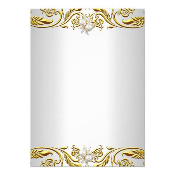 Birthday invitation clipart black and white elegant banner Royal Gold on White Pearl Elegant Birthday Party Invitation | Zazzle ... banner