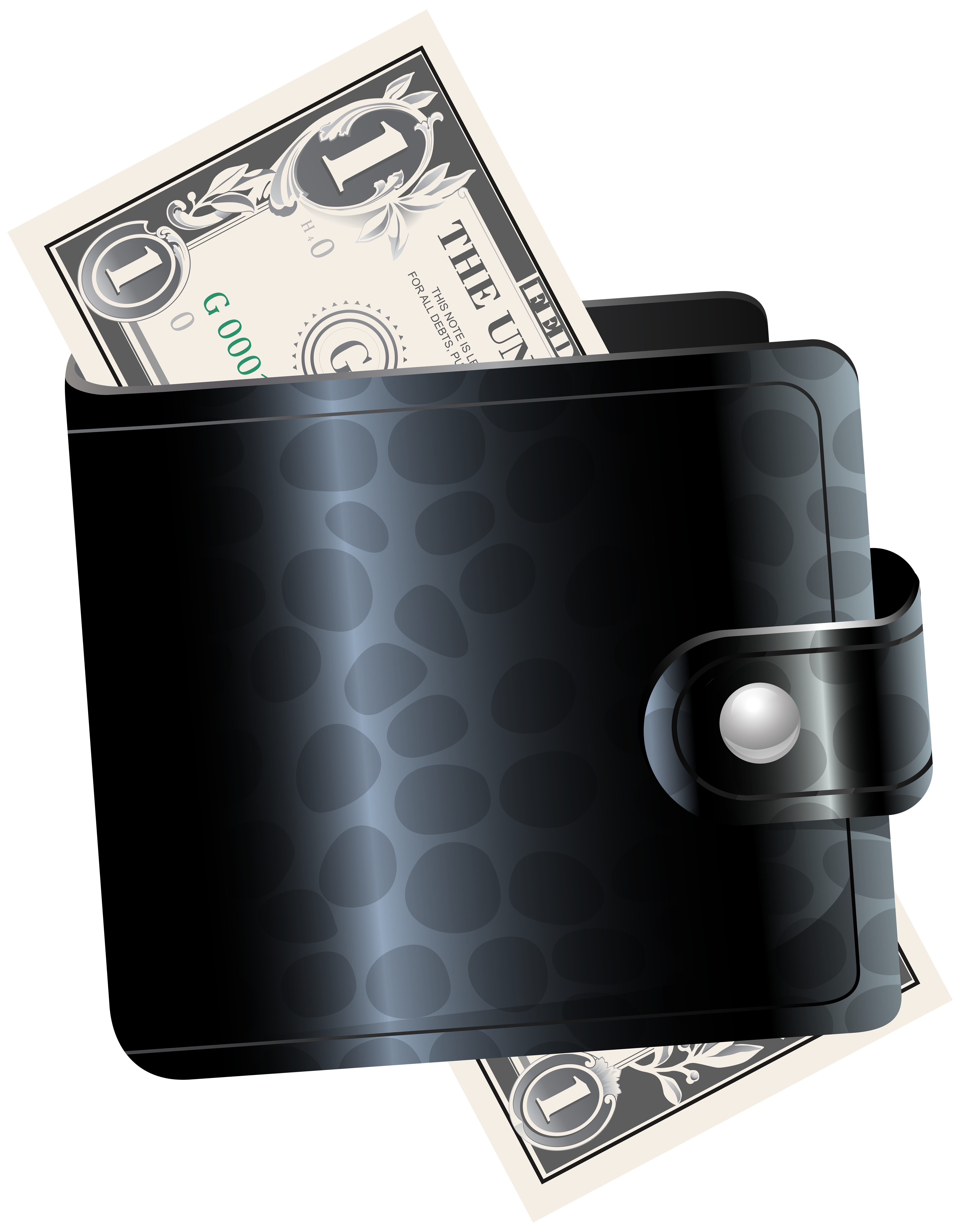 Clipart taking money out of wallet graphic transparent stock Black Wallet with One Dollar Transparent Clip Art Image | Gallery ... graphic transparent stock