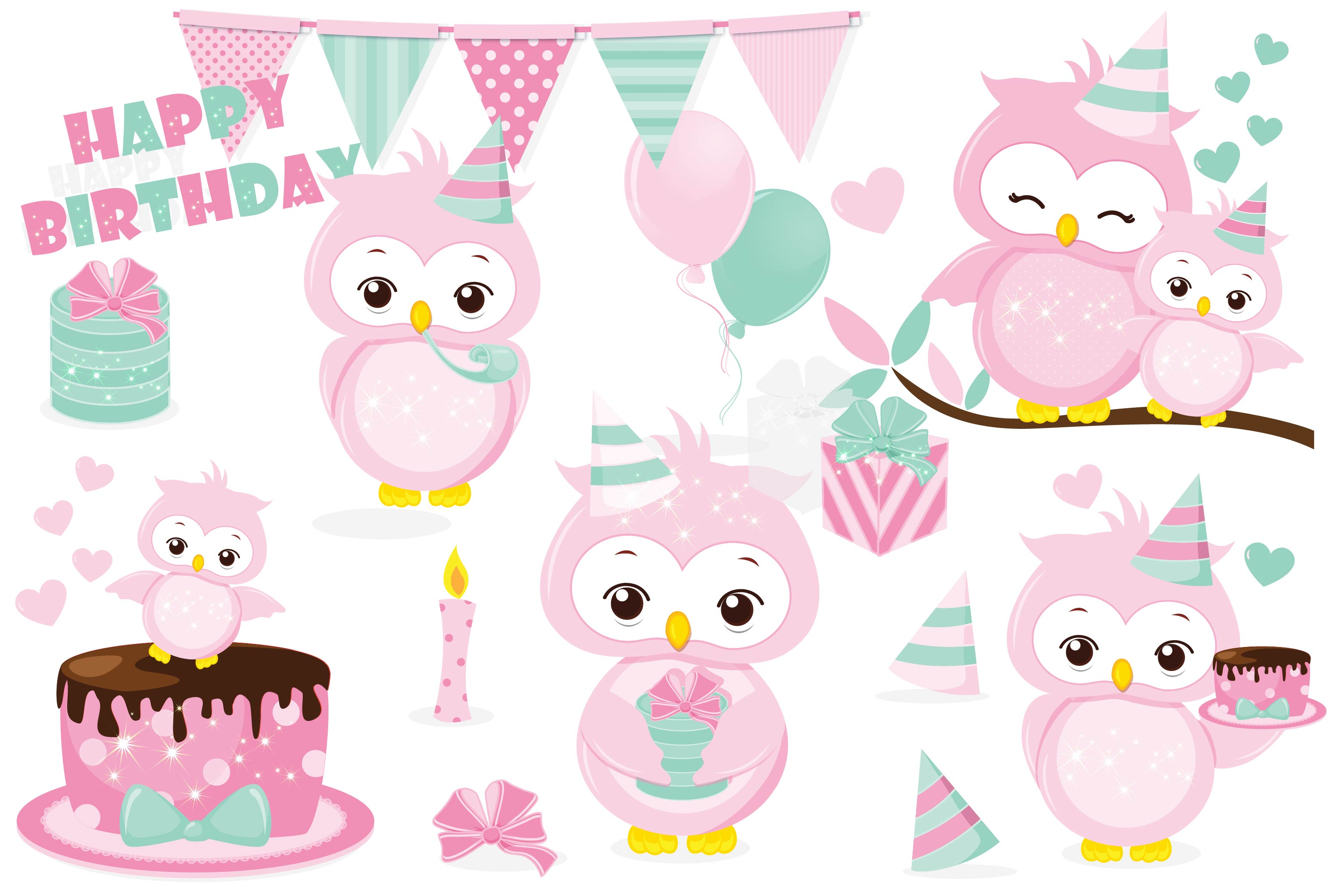 Birthday owls clipart jpg freeuse library Birthday owl clipart, Birthday owl graphics jpg freeuse library