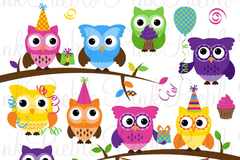 Birthday owls clipart banner library library Birthday Party Owl Clipart & Vectors banner library library