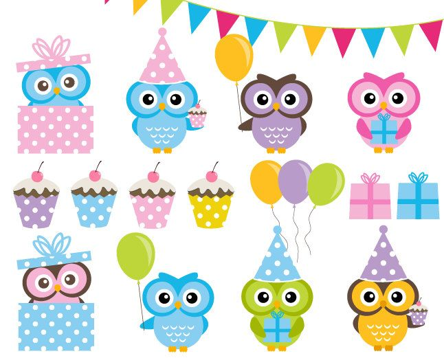 Birthday owls clipart vector free stock BUY 2 GET 2 FREE Birthday Party Clip Art by DennisGraphicDesign ... vector free stock
