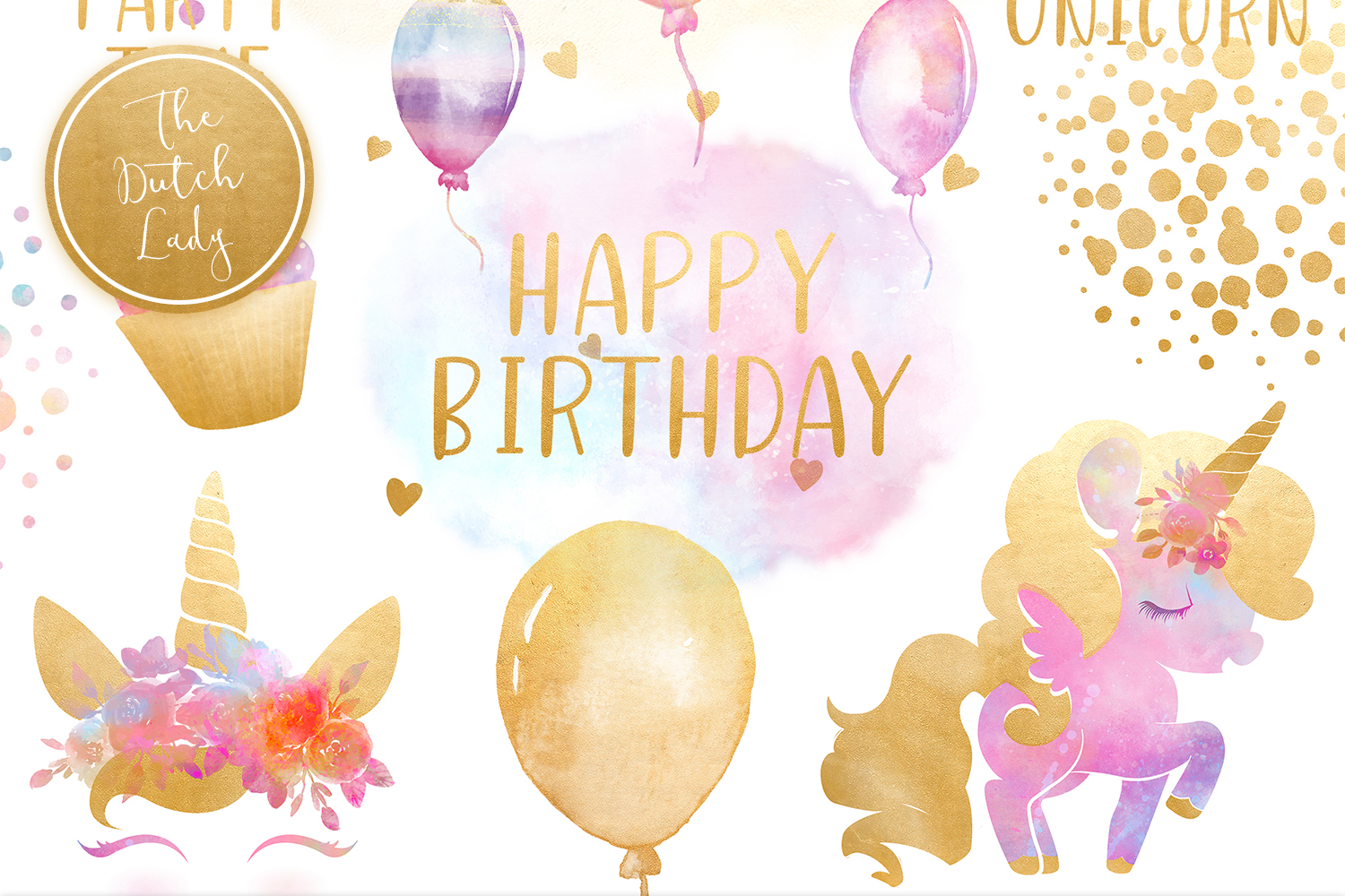Unicorn Birthday Party Clipart Set - Vsual picture library download