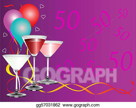Birthday party drinks clipart jpg library download Vector Clipart - Fiftieth bithday party. Vector Illustration ... jpg library download