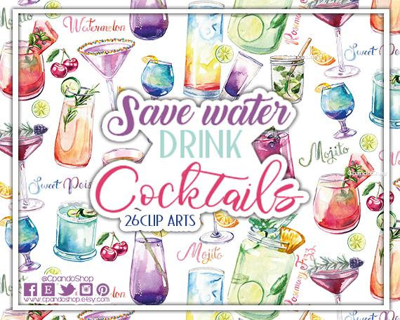 Birthday party drinks clipart freeuse stock Drinks Clipart Set, Cocktail Clipart, Alcohol Clipart, Party Clipart ... freeuse stock