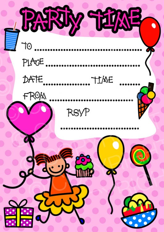 Birthday party invitation clipart banner royalty free stock Happy Girl Birthday Party Invitation Clip Art – Prawny Clipart ... banner royalty free stock