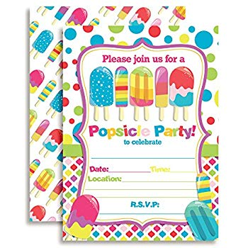 Birthday party invitation clipart banner black and white library Amazon.com: Amanda Creation Popsicle Birthday Party Invitations Set ... banner black and white library