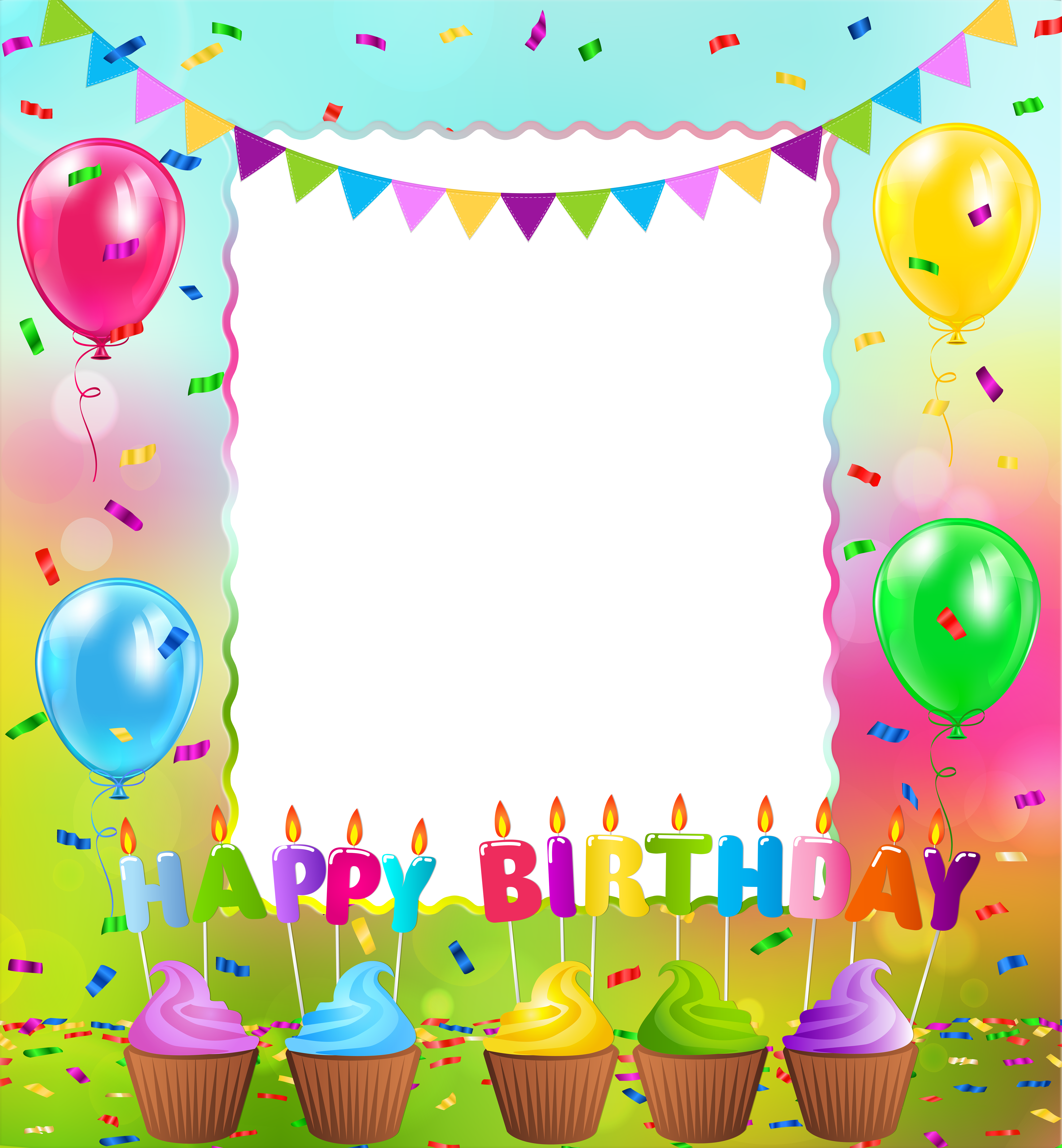 Birthday picture frame clipart banner royalty free download Happy Birthday PNG Frame | Gallery Yopriceville - High-Quality ... banner royalty free download