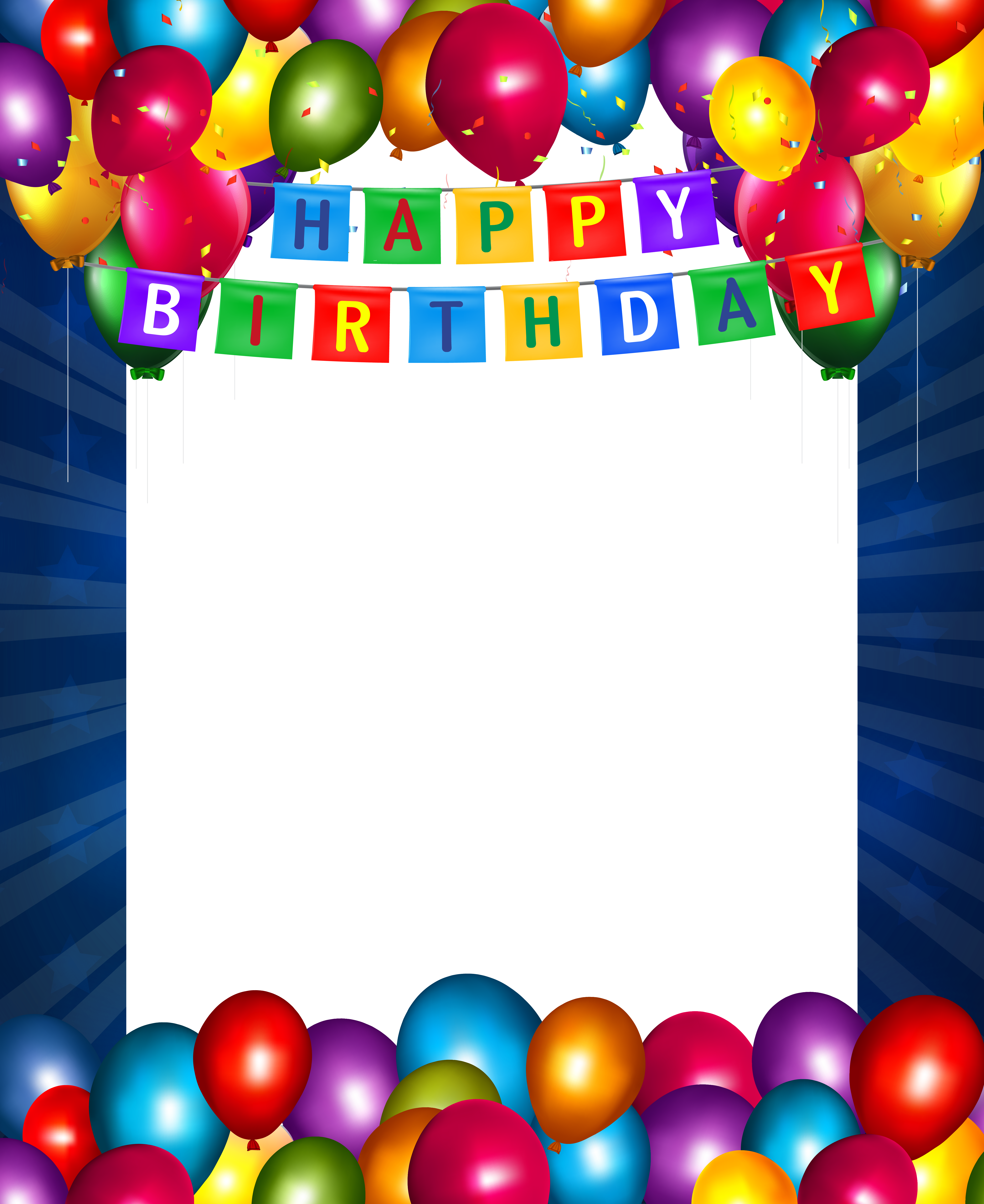 Happy birthday clipart frame black and white Happy Birthday Blue Transparent PNG Frame | Gallery Yopriceville ... black and white