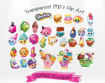 Birthday shopkins clipart transparent background banner free Shopkins Digital Clip Art transparent PNG's INSTANT by Andabloshop ... banner free