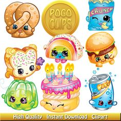 Birthday shopkins clipart transparent background free stock 194 Shopkins clipart Season 1 Characters / Clip Art DIY Instant ... free stock