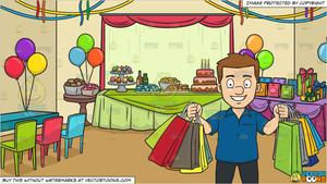 Birthday shopping clipart jpg black and white download A Man Smiles In Pleasure After A Shopping Spree and A Birthday Party  Background jpg black and white download