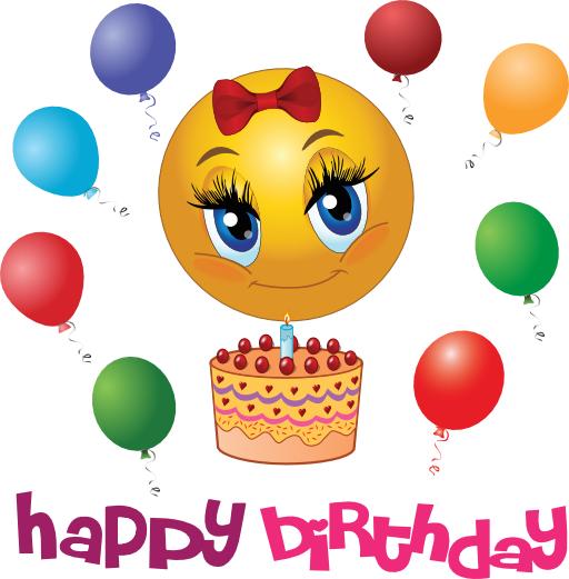 Birthday Girl Smiley | Birthday Emoticons | Happy birthday emoji ... graphic black and white