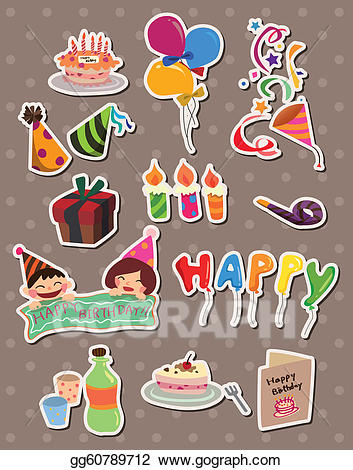 Birthday stickers clipart banner library library Vector Art - Birthday stickers. EPS clipart gg60789712 - GoGraph banner library library
