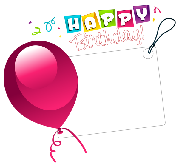 Birthday stickers clipart image free download Happy Birthday Transparent Sticker with Pink Balloon | اطار صور ... image free download