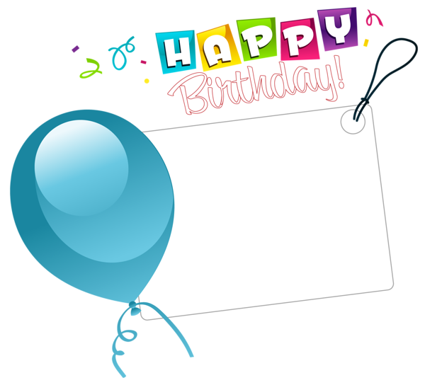 Birthday stickers clipart clip art royalty free Happy Birthday Transparent Sticker with Blue Balloon | ClipArt ... clip art royalty free