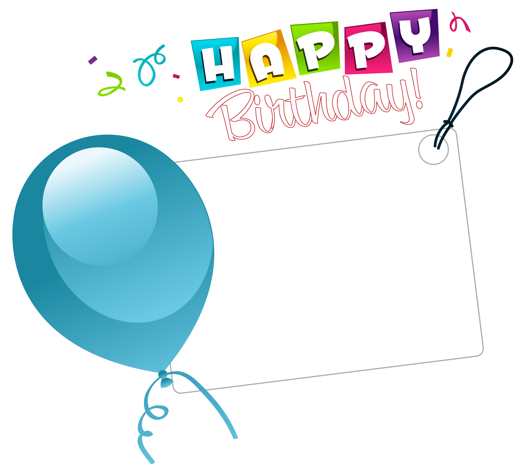Birthday stickers clipart vector black and white stock Happy Birthday Transparent Sticker with Blue Balloon | Gallery ... vector black and white stock