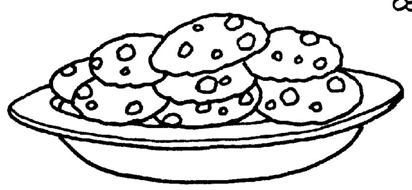Food o the plate black and white clipart banner transparent library Cookie Clipart Black And White | Free download best Cookie Clipart ... banner transparent library