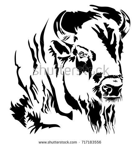 Bison head clipart black and white picture free stock Buffalo Bison Head Silhouette | Buffalo Head Stock Images, Royalty ... picture free stock